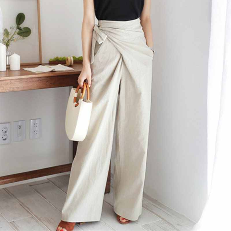 Fall 2019 Vintage Office Ladies Elegant Korean Style Black Pants Women Loose Wide Legs High Waist Plain Female Fashion Trousers