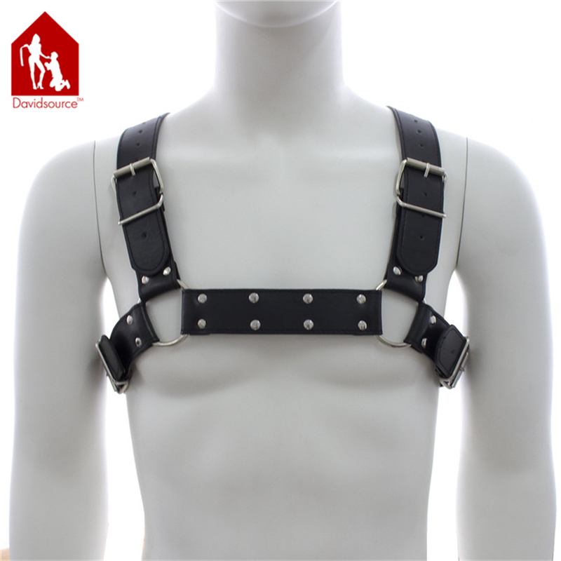 Davidsource X-Back Leather Chest Harness With Pulling Ring Men Bra Restraint Harness Pup Male Cloth Parade