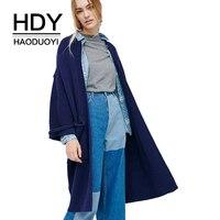 HDY Haoduoyi Koyu Mavi Vintage Kadın Kat Örme Tam Kollu Cep Açık Dikiş Lady Hırka Rahat Tiki Tarzı Lady Kazak