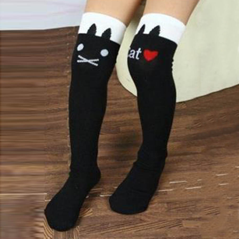 b976f3e228e 1 8Y Kids Girls Cute Cat Print Striped Socks Thigh High Long Over Knee Socks-in  Tights   Stockings from Mother   Kids on Aliexpress.com