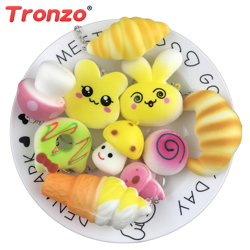 Tronzo 10Pcs/Lot Scented Squishes Stress Relief Toys Squeeze Panda/Donut Squishy Slow Rising Anti-Stress Keychain Gift For Kids