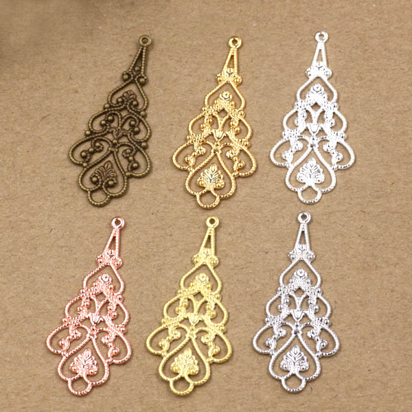 18x41mm Vintage Filigree Flat Flower Connectors Metal Wraps Links European Charms Hair Clasp Bu Yao Accessories