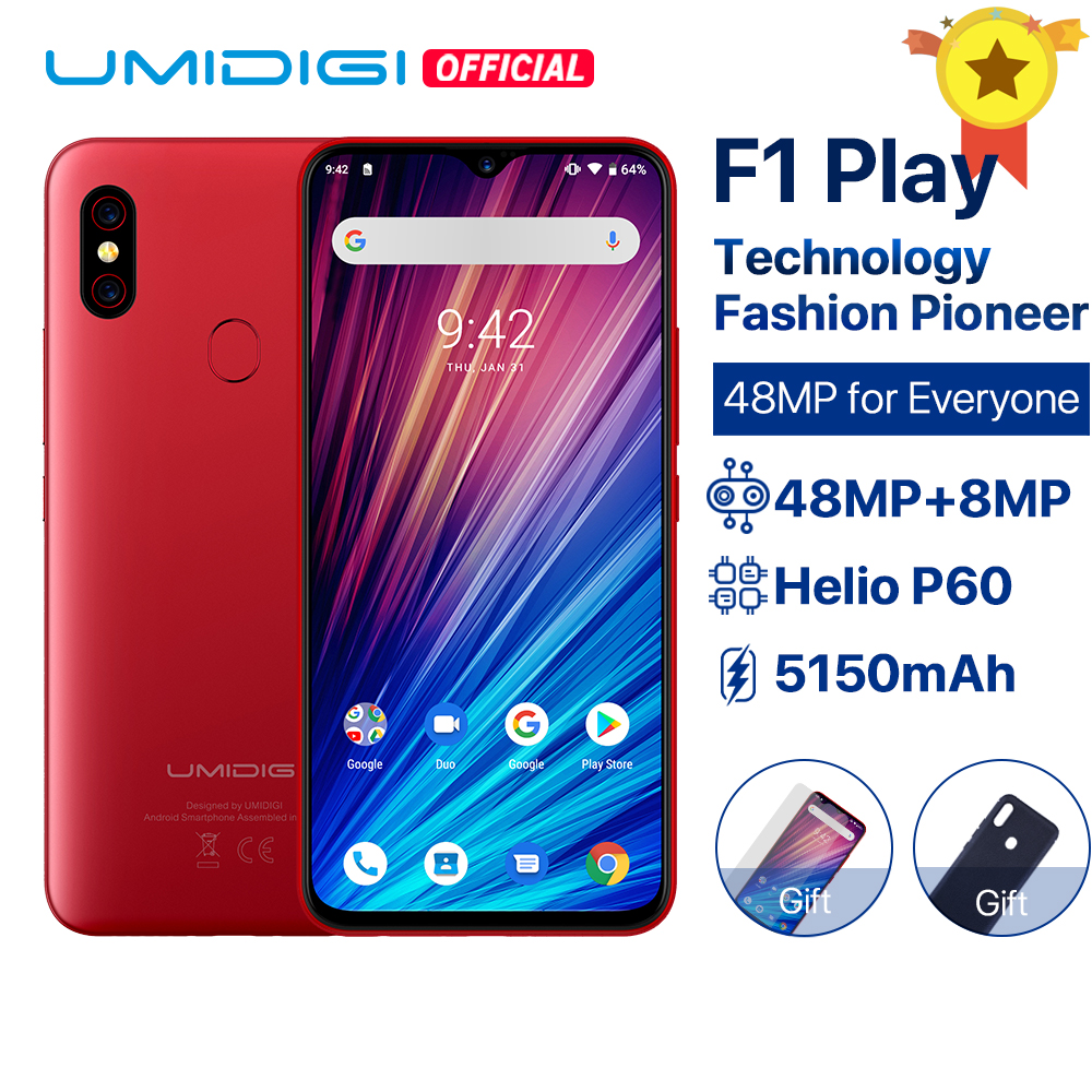 "UMIDIGI F1 Play Android 9.0 48MP+8MP+16MP Cameras 5150mAh 6GB RAM 64GB ROM 6.3"" FHD+ Helio P60 Global Version Smartphone Dual 4G(China)"