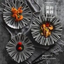 Ceramic tableware matte black Nordic  creative Western steak breakfast pizza cake tray