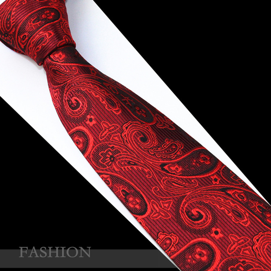572397c20c RBOCOTT Red Paisley Tie Fashion Silk Jacquard Woven Ties for Men Wedding  And Birthday Neck Ties 7cm Mens Christmas Party Necktie-in Men's Ties ...