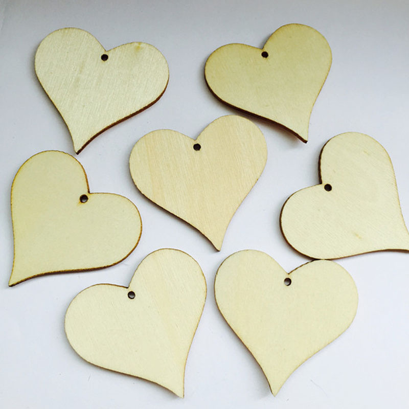 100pc DIY Wood Tag Heart Rustic Wedding Favors Gift Wood Heart Wedding Centerpieces Bridal Shower Wish Tree Decoration Blank