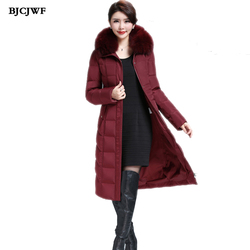 BJCJWF 2017 Womens down jackets Oversize winter warm White duck down X-Long Coat Real raccoon fur Hooded Thick Parka Outwear 6XL