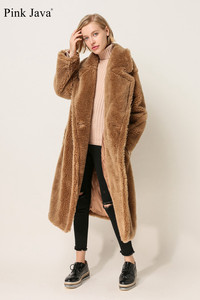 Image 3 - PINK JAVA QC1848 new arrival free shipping real sheep fur coat long style wool coat camel teddy coat over size winter women coat