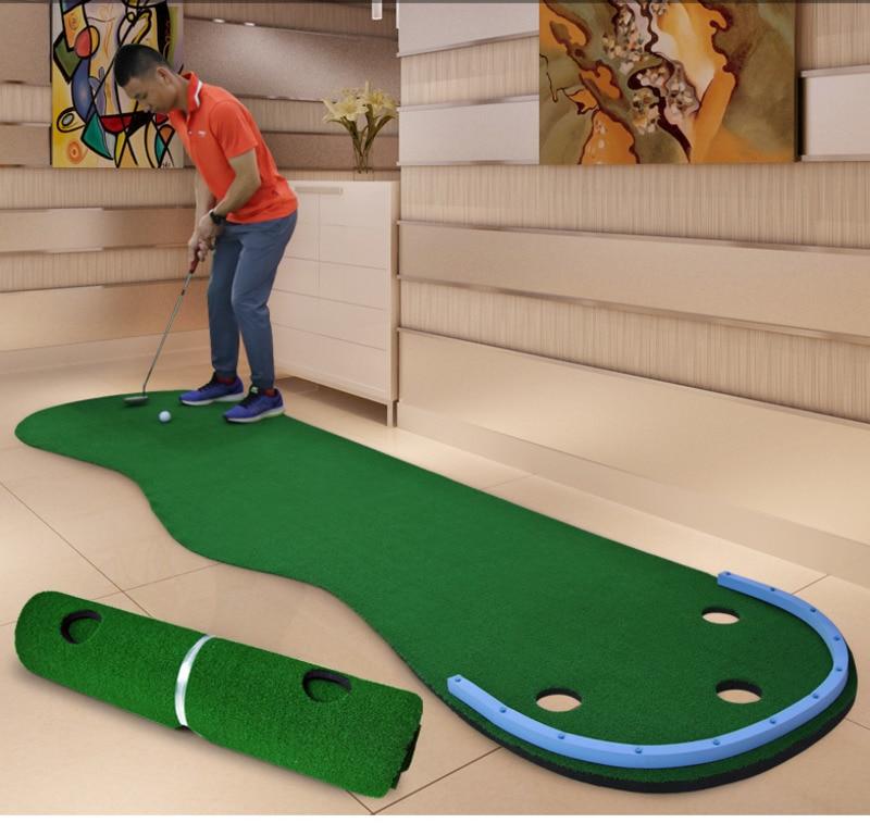 Portable Indoor Golf Put Trainer Golf Practice Blanket Artificial Grass Mini Golf Green Beginners Family Practicing Set B81701