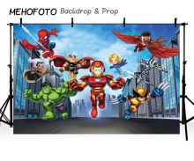 MEHOFOTO Filem Aksara Vinyl Photography Backdground Avengers Superhero Spinderman Iron Man Anak-anak latar LV-393