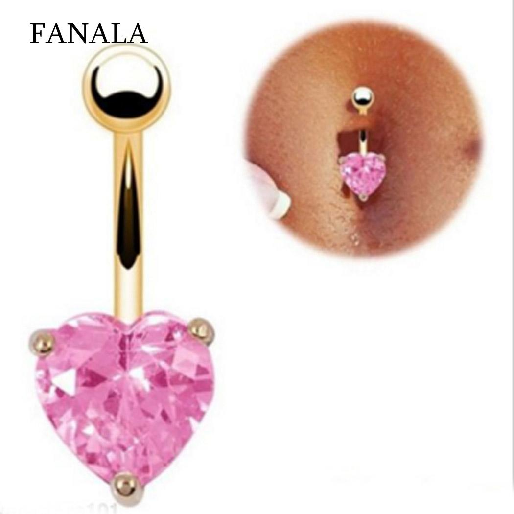 Belly Button Heart Rhinestone Piercing Jewelry