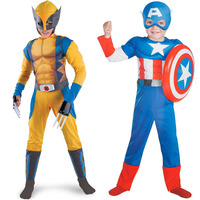Children S Halloween Costume For Cosplay Show Costumes Muscle Wolverine Captain America Suit Clothes