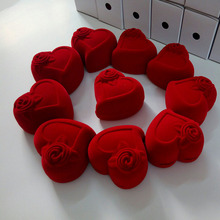 5 Pack Heart Shape Rose Flower Velvet Red Jewelry Gift And Retail Boxes Case Ring Package for Weddding Engagement