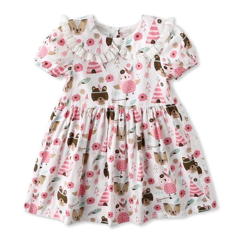 Kids Dress for Girls Sweet Girl Summer Ruffle Raglan Cotton Dresses Children Vestidos Toddler Kids Peter Pan Collar Dress D1293