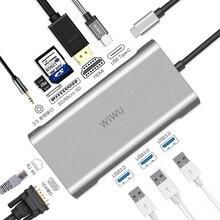 USB хаб 10 в 1 WIWU для MacBook, USB C к HDMI/VGA/RJ45, Thunderbolt 3, адаптер для Dell/Samsung/Huawei P20 Pro, концентратор USB 3,0 Type c