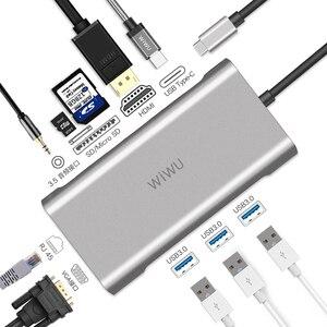 Image 1 - WIWU 10 ב 1 USB Hub עבור MacBook USB C כדי HDMI/VGA/RJ45 Thunderbolt 3 מתאם עבור dell/סמסונג/Huawei P20 פרו סוג c USB 3.0 רכזת
