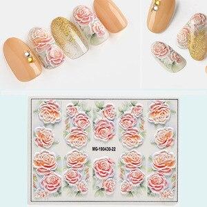 Image 4 - 1 adet 3D DIY Akrilik Oyulmuş çiçek Tırnak Etiket Kabartmalı Çiçek Akçaağaç yaprağı dondurma Su Çıkartmaları Empaistic Tırnak Su çıkartmaları