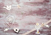 Laeacco Photography Backdrops Planks Paper Cutting Love Heart Pigeon Wooden Board Baby Photographic Background For Photo Studio