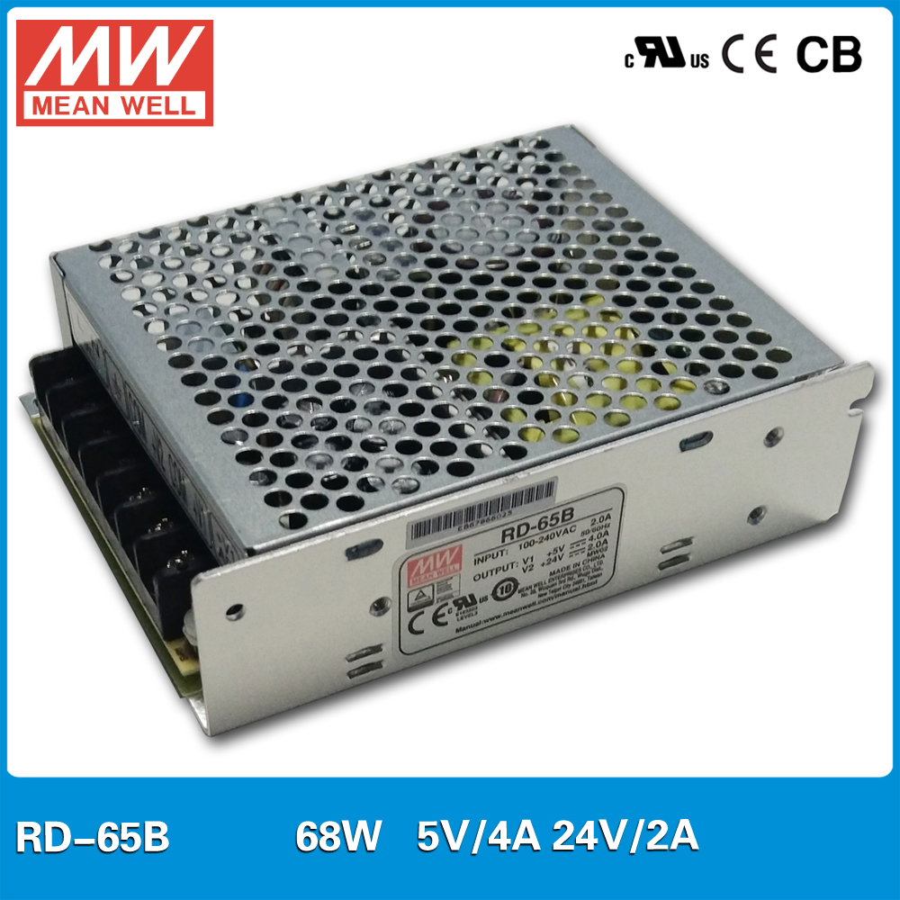 Original MEAN WELL RD-65B 68W 5V/4A 24V/2A Dual output 5V 24V Meanwell Power Supply mean well original pb 120n 54p 55 2v 2 2a meanwell pb 120n 55 2v 121 44w power supply or battery charger