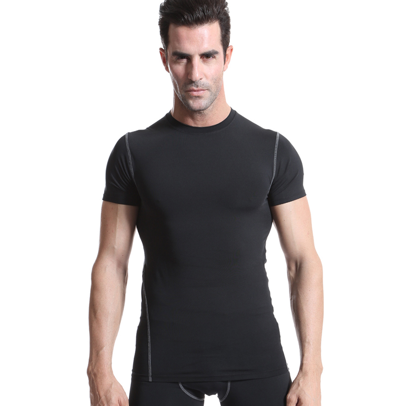 Yuerlian Quick Dry Compression Mens Short Sleeve T-Shirts Running Shirt Fitness Tight Tennis Soccer Jersey Gym Demix Sportswear