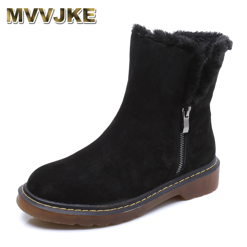 MVVJKE Fashion Autumn Winter Boots Faux Fur Leather Suede Brand New Women Flats Snow Boots Plush Warm Female Shoes Plus size 43 new casual mens cheap winter shoes keep warm with fur outdoor male snow shoes plush boots fashion men s suede leather sneakers