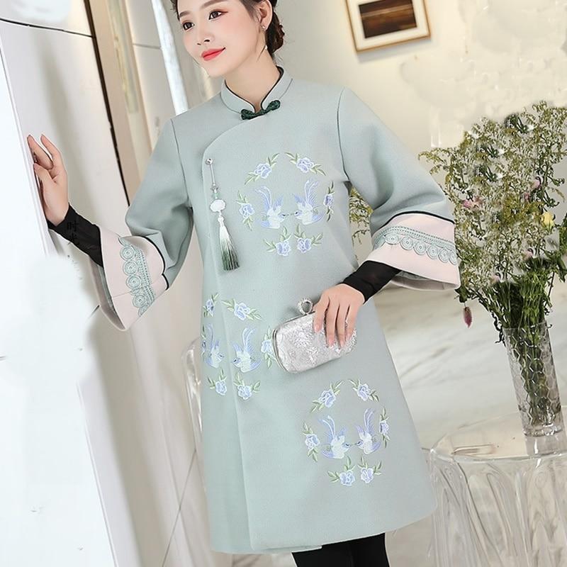 Hiver 1 Femme Femmes Trench Style Long Manteau Mélange 2 D'hiver Dames Aa4258 Manteaux Chinois Femelle Chaud 2018 Zwrx7fZq