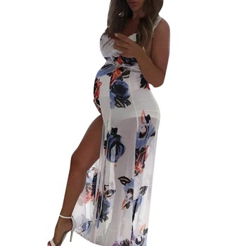 Women's Summer Maternity Sleeveless Dresses with Floral Print 2