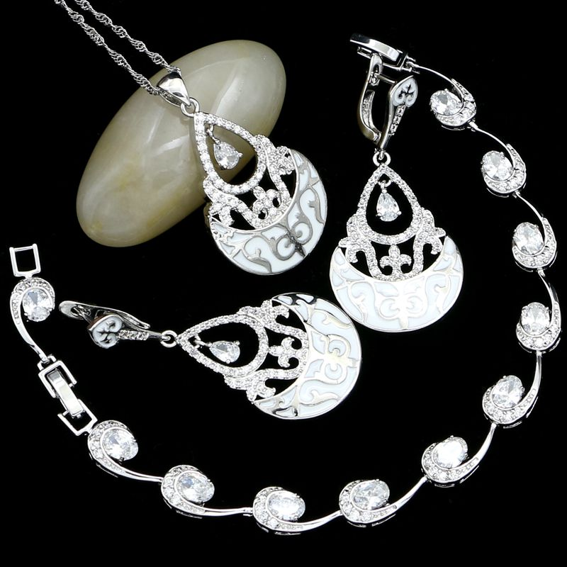 925 Sterling Silver Bridal Jewelry Sets For Women Wedding Accessories White Pattern Crystal Earrings/Pendant/Necklace/Bracelet