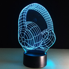 New Headset Colorful 3d Lights Touch Switch Visual Stereo desk Lamp Novelty Luminaria Led Usb 3d Table Lamps