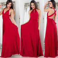 Sexy Women Boho Maxi Club Dress Ladies Red Bandage Long Dress Party Multiway Bridesmaids Solid Summer