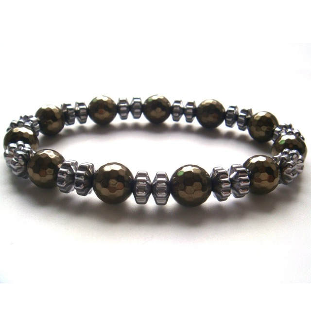 2017 New 1PC Natural Stone Pyrite Color Silver Hematite Faceted Round Flower Beads Stretch Bracelet Gift Box