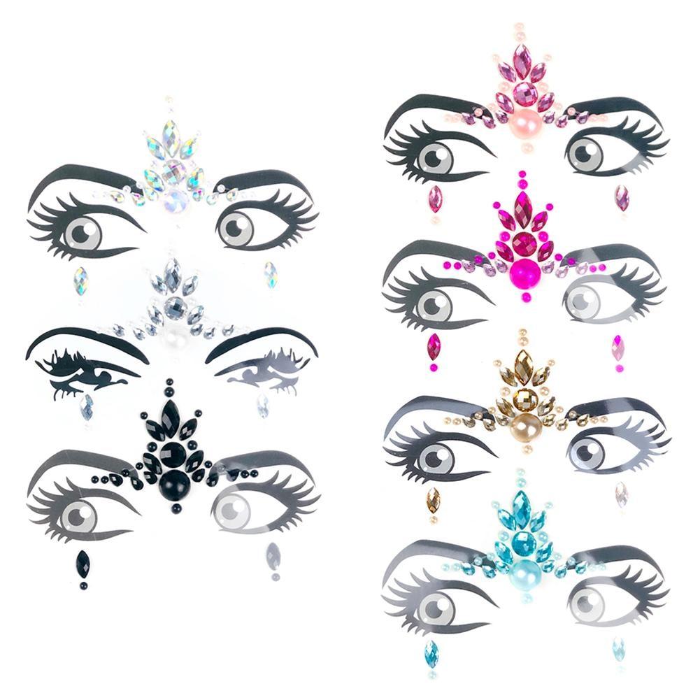 Music Festival Face Diamond Sticker Eco-Friendly Resin Crystal Rhinestone  Face And Eye Jewels Forehead b5453b6445c2