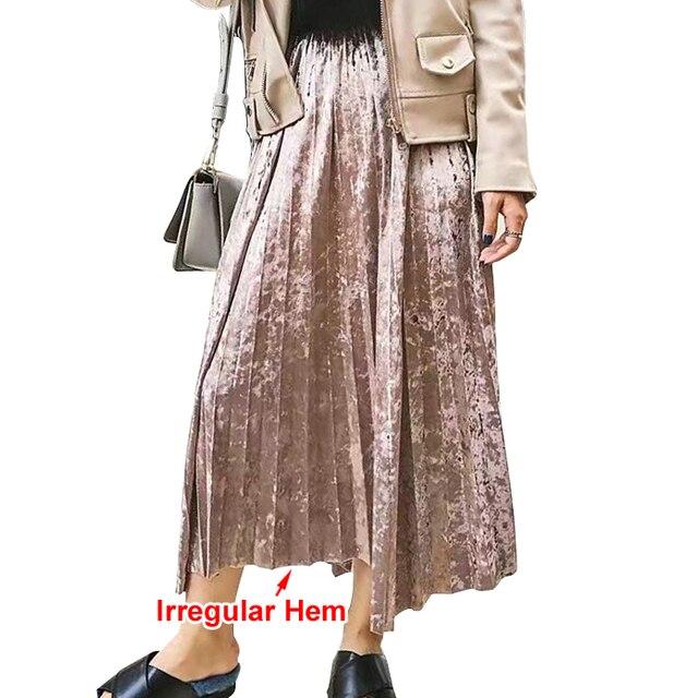 [TWOTWINSTYLE] 2017 Весна Корейский Металл Цвет Плиссированные Бархат Юбка Женщины Высокой Талией Новый Модной Одежды