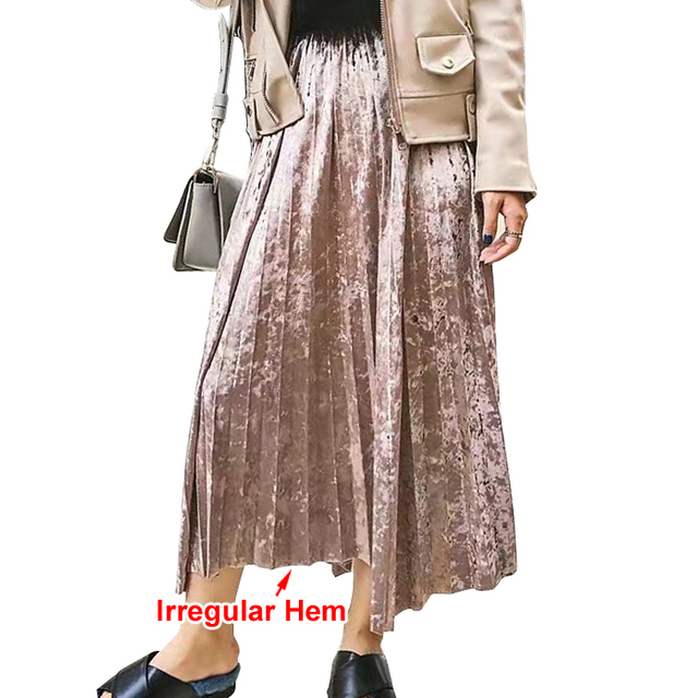 [TWOTWINSTYLE] 2017 Spring Korean Metal Color Pleated Velvet Skirt Women High Waist New Fashion Clothing