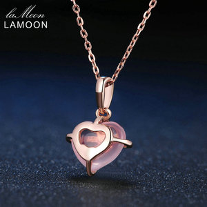 Image 4 - LAMOON 925 Sterling Silver Necklace For Women Heart Rose Quartz Gemstone Necklace 18K Rose Gold Plated Fine Jewelry LMNI016
