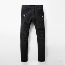 Italy Luxury Style Mens Straight Slim Fit Biker Jeans Famous Brand Black Jeans Men Skinny Ripped Cotton Distressed Jean For Men