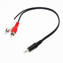 30cm 3.5mm Stereo Jack Male to 2 RCA Male Audio Cable For Speakers Amplifier