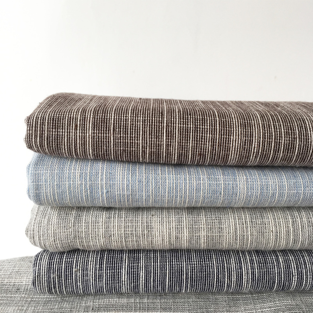 Japan Style Yarn Dyed Cotton Linen Fabric Sewing Material For Table