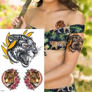 Tatuaje de pegatinas temporales tatuaje corporal sexual para mujeres chicas tatuaje de verano cabeza de tigre tatuaje de Pantera Negra hombres tatuajes de hombro chicos