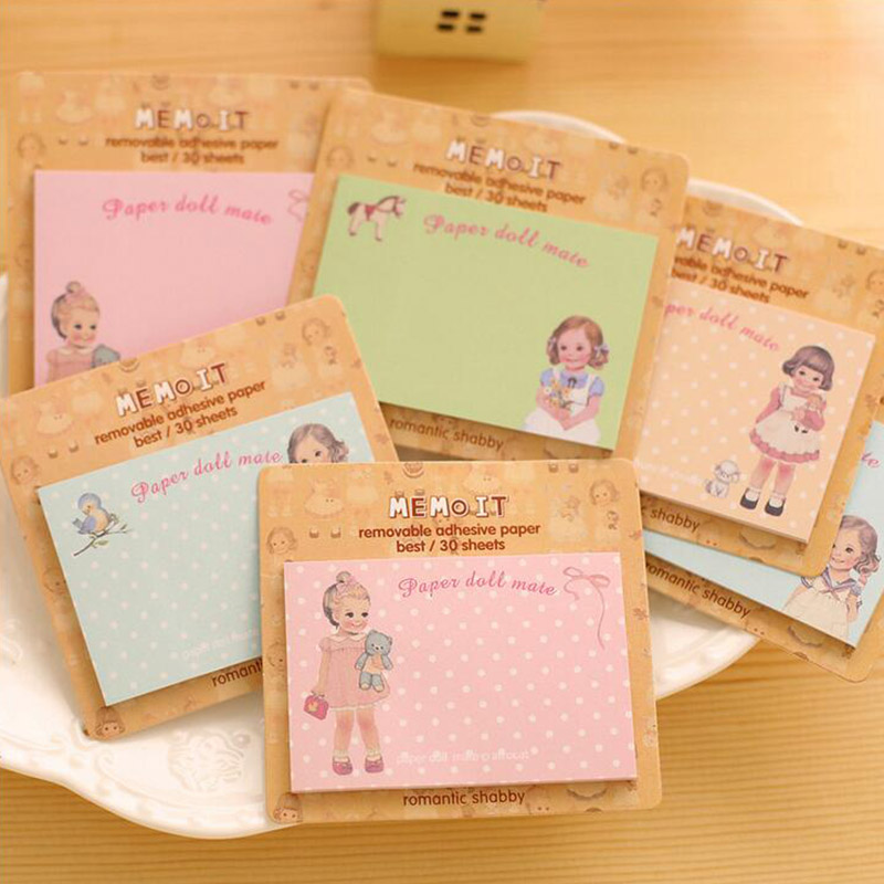10 Pcs/lot Kawaii doll memo Cute sticky notes notepad stationery Planner Diary post it stickers office School Supplies escolar