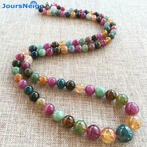 Image 1 - JoursNeige collar de piedra de turmalina Natural, cadena de cuentas redondas, collar de cristal de la torre, regalo de la suerte para mujeres y niñas, joyería Popular