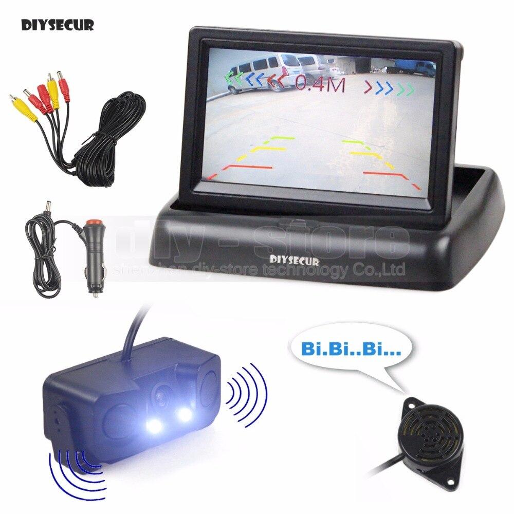 DIYSECUR 4.3 Inch Car Reversing Camera Kit Back Up Car Monitor LCD Display Parking Radar Sensor 2 in 1 Car Camera Parking System