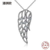 Retro 100 925 Sterling Silver Angel Wing Pendant Necklace Clear CZ Charm Necklaces For Women Compatible