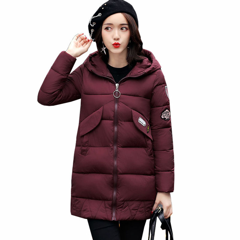 2017 winter jacket women long wadded jacket female outerwear winter hooded coat cotton casual padded parkar plus size 3XL QH0766 linenall women parkas loose medium long slanting lapel wadded jacket outerwear female plus size vintage cotton padded jacket ym