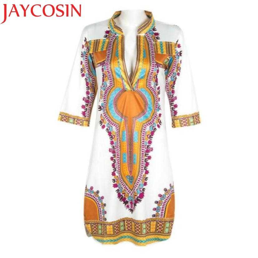 JAYCOSIN платье новый дизайн плюс размер женское повседневное глубокий v-образный вырез традиционное Африканское Дашики принт Платье До Колена Vestido
