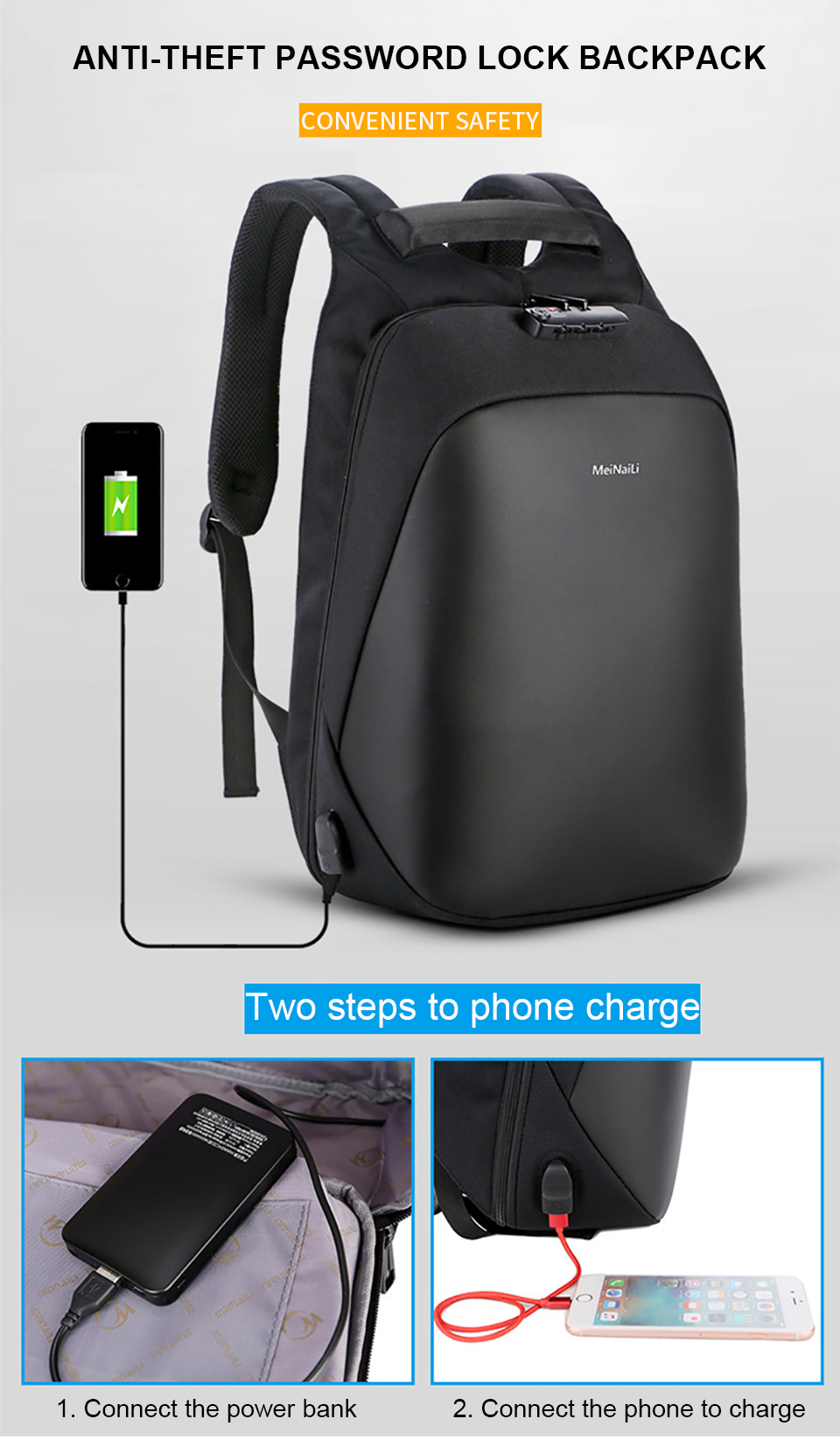 1 Anti-theft Backpack Men Backpacks Laptop 15.6'' Business Travel Luggage Bag Pack Waterproof USB Password Lock Male Backpacking
