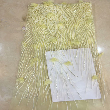 African lace fabric with sequins french lace fabric tulle Nigerian laces fabrics 3D flower for  wedding dress 5 yards xc80-54
