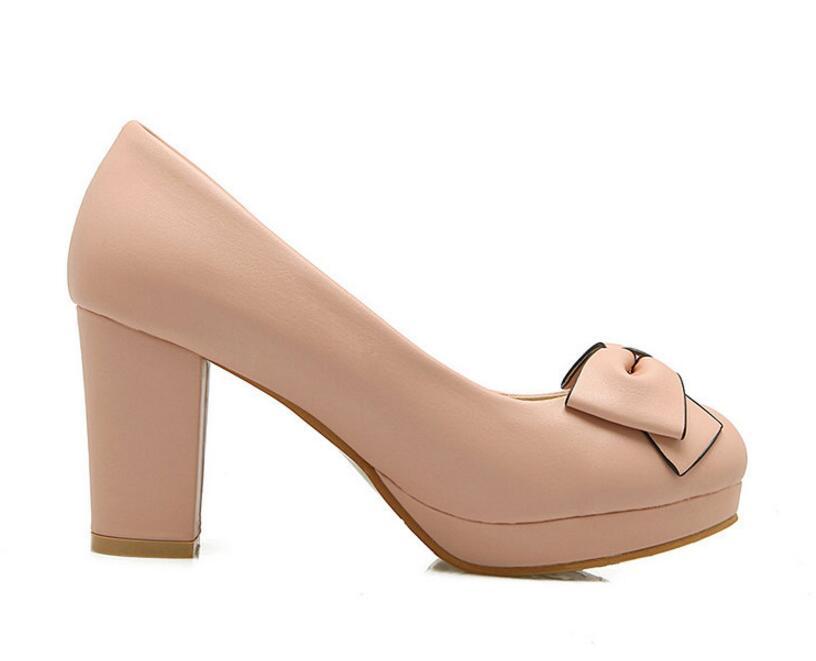Dousin partin 패션 bowtie 여성 펌프 하이힐 핑크/블루 패션 여성 펌프 신발 여성 슬립 숙녀 결혼식 신발-에서여성용 펌프부터 신발 의  그룹 2