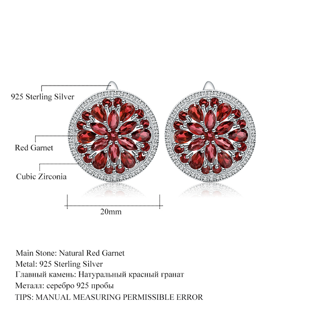 GEM'S BALLET 7.76Ct Natural Red Garnet Gemstone Earrings for Women Engagement 925 Sterling Silver Stud Earrings Fine Jewelry