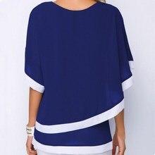 Fashion Large Size Chiffon Patchwork Irregular Blouse Casual Batwing O Neck 2019 Summer Women Shirts Plus Clothing